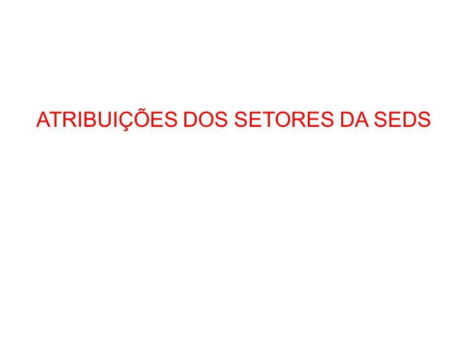 ATRIBUIÇÕES DOS SETORES DA SEDS