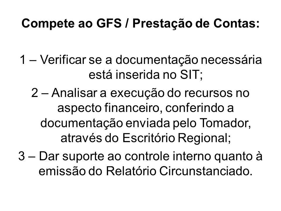 Compete ao GFS / Prestação de Contas: 1 – Verificar se a documentação necessária está inserida no SIT; 2 – Analisar a execução do recursos no aspecto