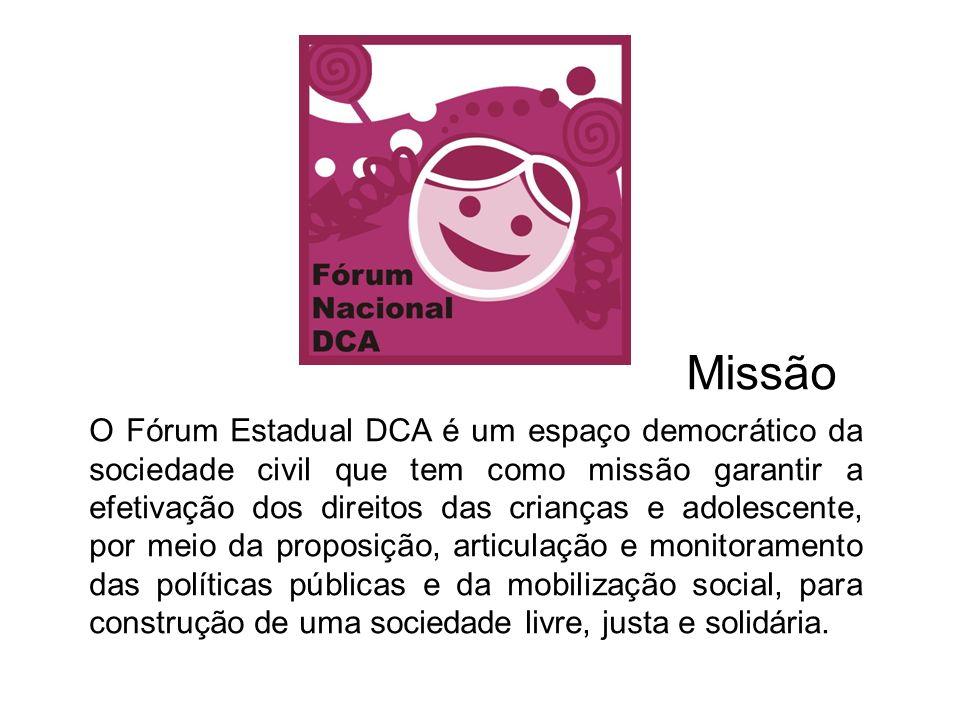 O Fórum Estadual DCA é um espaço democrático da sociedade civil que tem como missão garantir a efetivação dos direitos das crianças e adolescente, por