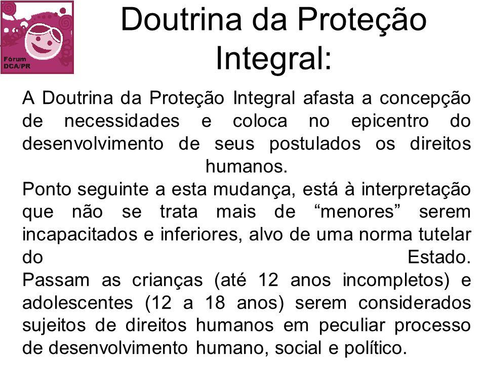 A Doutrina da Proteção Integral, concebida internacionalmente é incorporada no Brasil a partir da Constituição Federal de 1988, através do Artigo 227, e posteriormente pelo Estatuto da Criança e do Adolescente (1990).