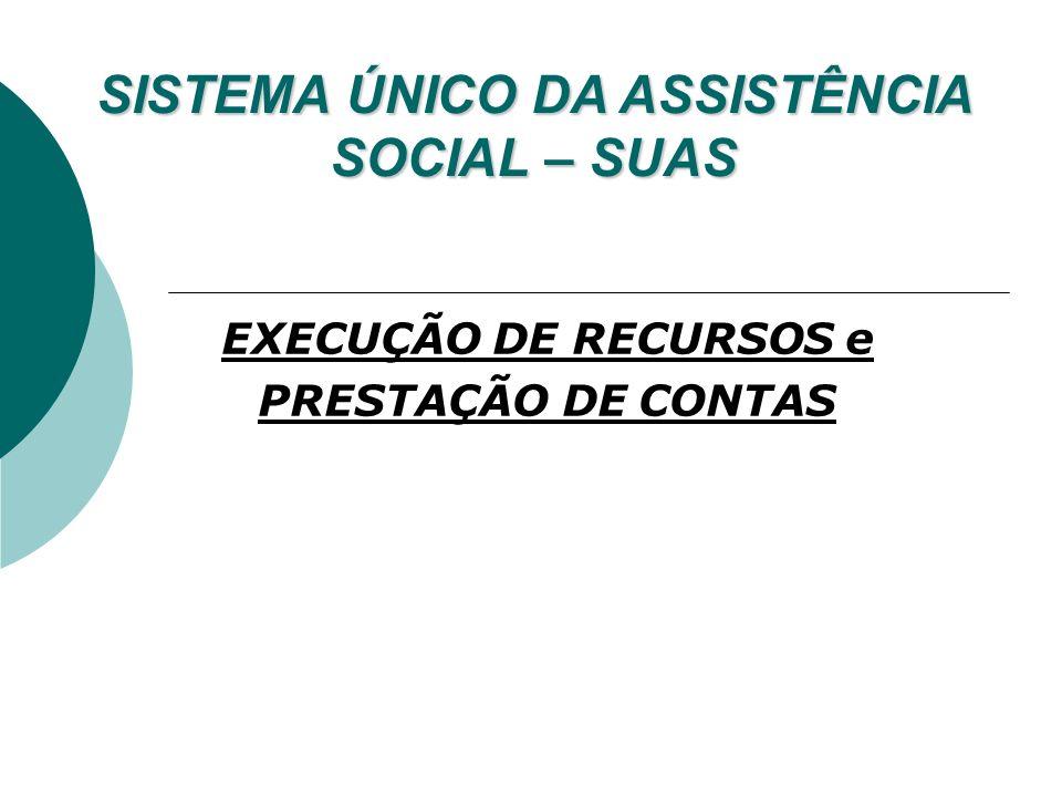 EXECUÇÃO DE RECURSOS e PRESTAÇÃO DE CONTAS SISTEMA ÚNICO DA ASSISTÊNCIA SOCIAL – SUAS