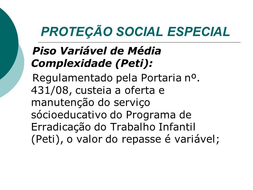 PROTEÇÃO SOCIAL ESPECIAL Piso Variável de Média Complexidade (Peti): Regulamentado pela Portaria nº.