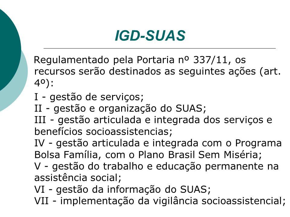 IGD-SUAS Regulamentado pela Portaria nº 337/11, os recursos serão destinados as seguintes ações (art.