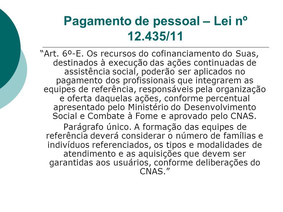 Pagamento de pessoal – Lei nº 12.435/11 Art.6º-E.