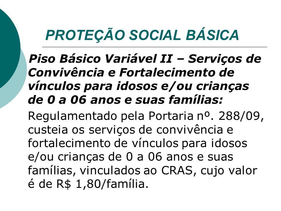 PROTEÇÃO SOCIAL ESPECIAL Piso de Transição de Média Complexidade: Regulamentado pela Portaria nº.