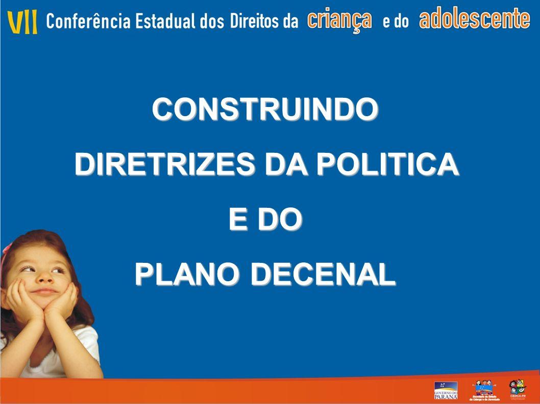 CONSTRUINDO DIRETRIZES DA POLITICA E DO PLANO DECENAL