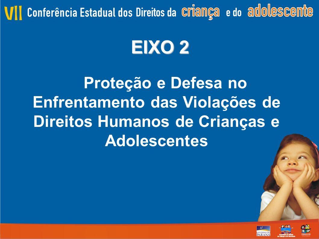 EIXO 2 Proteção e Defesa no Enfrentamento das Violações de Direitos Humanos de Crianças e Adolescentes