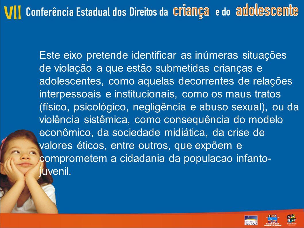 Este eixo pretende identificar as inúmeras situações de violação a que estão submetidas crianças e adolescentes, como aquelas decorrentes de relações