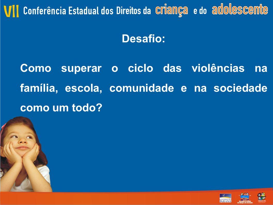 Desafio: Como superar o ciclo das violências na família, escola, comunidade e na sociedade como um todo?