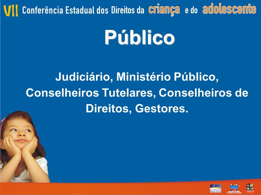 Público Judiciário, Ministério Público, Conselheiros Tutelares, Conselheiros de Direitos, Gestores.