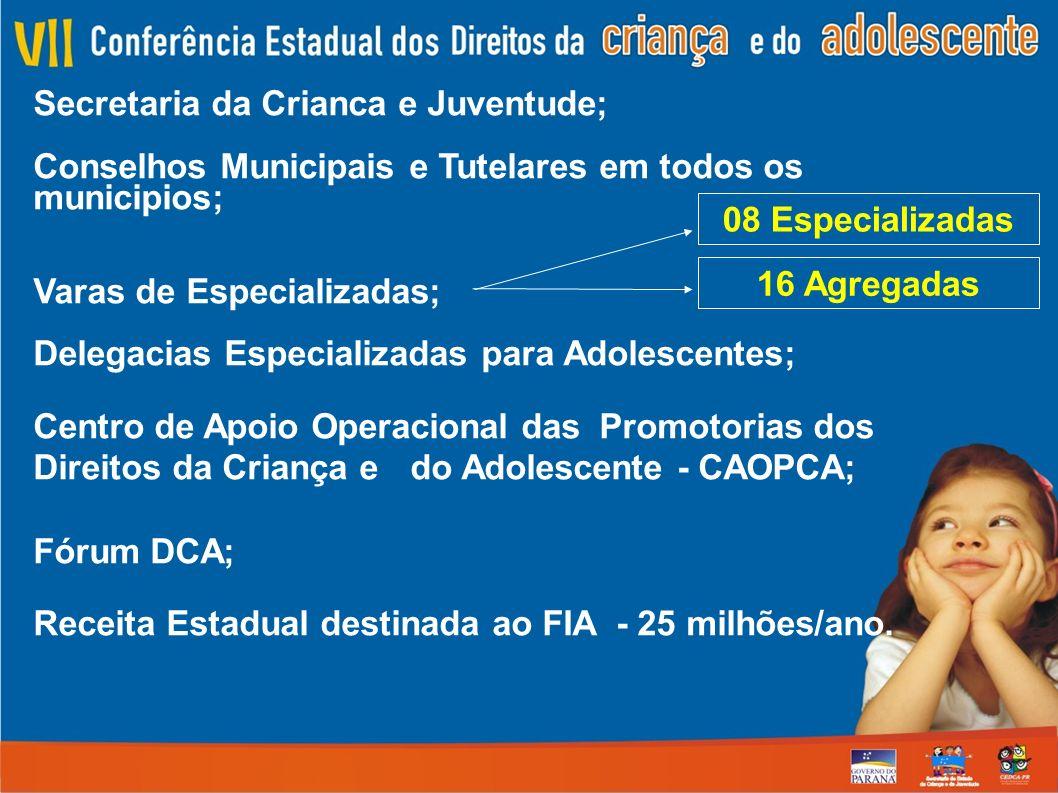 Secretaria da Crianca e Juventude; Conselhos Municipais e Tutelares em todos os municipios; Varas de Especializadas; Delegacias Especializadas para Adolescentes; Centro de Apoio Operacional das Promotorias dos Direitos da Criança e do Adolescente - CAOPCA; Fórum DCA; Receita Estadual destinada ao FIA - 25 milhões/ano.