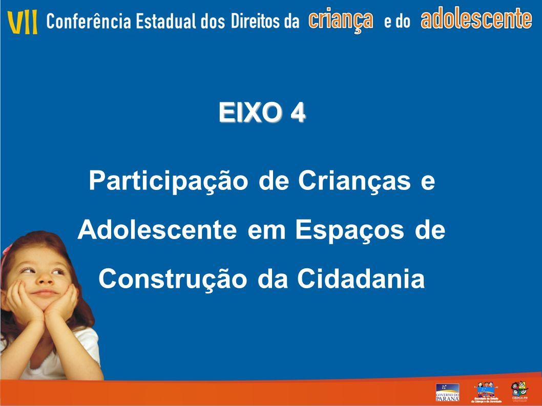 EIXO 4 Participação de Crianças e Adolescente em Espaços de Construção da Cidadania