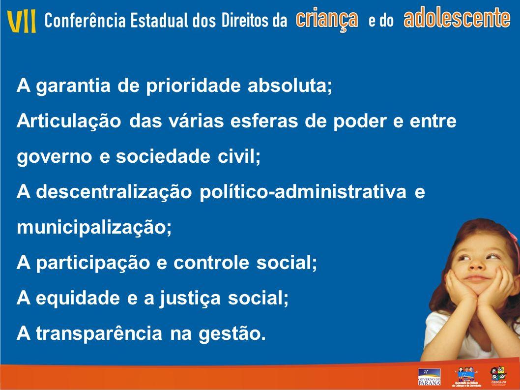 A garantia de prioridade absoluta; Articulação das várias esferas de poder e entre governo e sociedade civil; A descentralização político-administrati