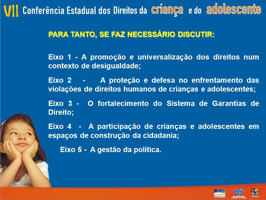 PARA TANTO, SE FAZ NECESSÁRIO DISCUTIR: Eixo 1 - A promoção e universalização dos direitos num contexto de desigualdade; Eixo 2 - A proteção e defesa