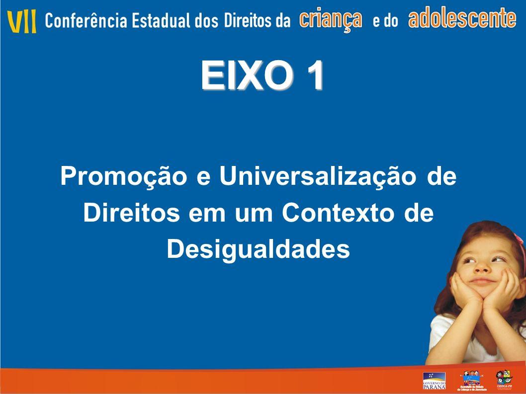 EIXO 1 Promoção e Universalização de Direitos em um Contexto de Desigualdades