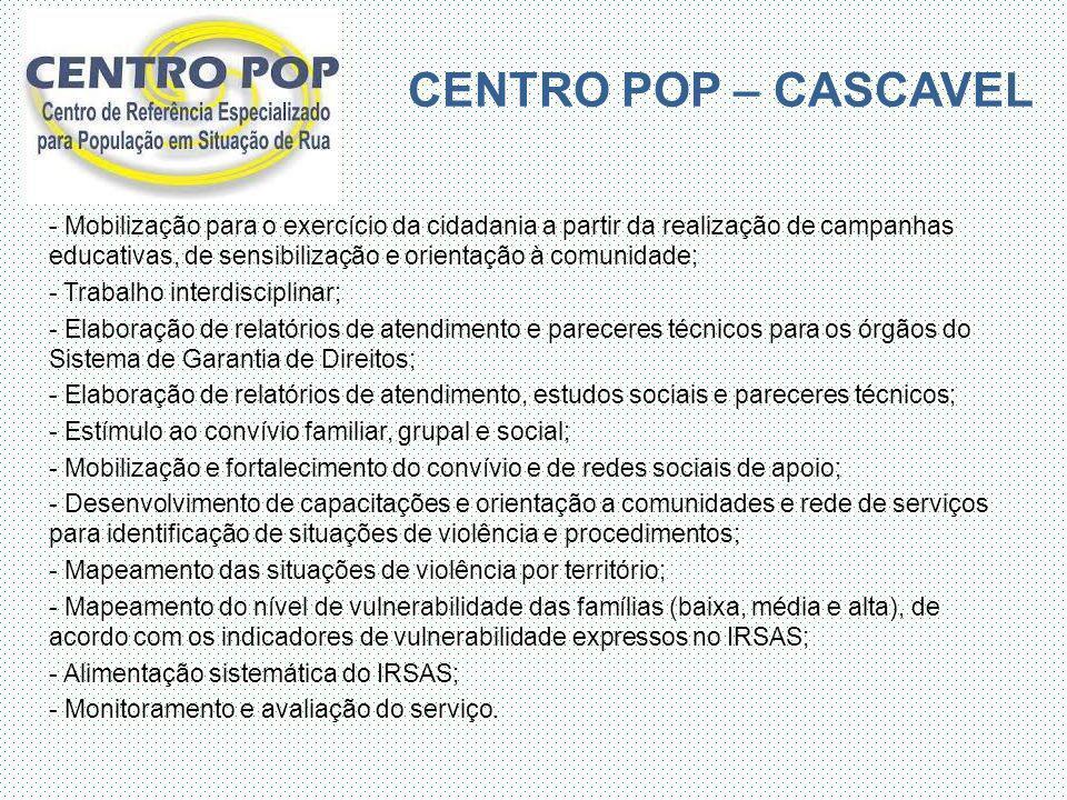 CENTRO POP – CASCAVEL - Mobilização para o exercício da cidadania a partir da realização de campanhas educativas, de sensibilização e orientação à com