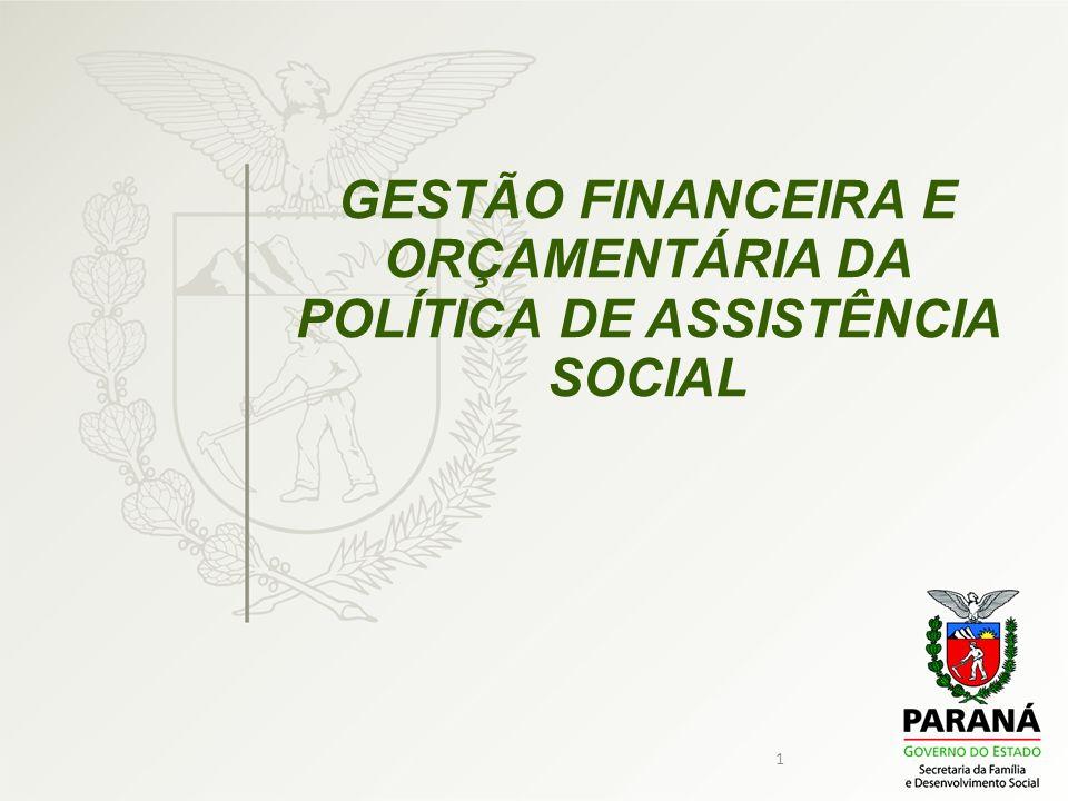 2 GESTÃO FINANCEIRA E ORÇAMENTÁRIA DO SUAS São instrumentos de gestão financeira e orçamentária do SUAS: O Orçamento da Assistência Social, e os Fundos de Assistência Social