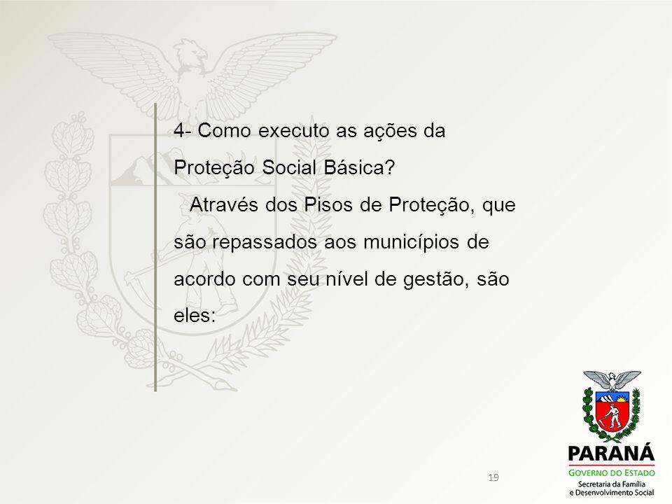 19 4- Como executo as ações da Proteção Social Básica? Através dos Pisos de Proteção, que são repassados aos municípios de acordo com seu nível de ges