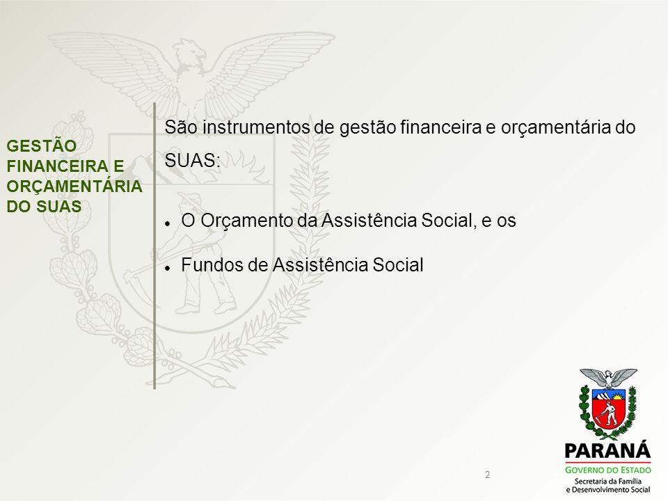 2 GESTÃO FINANCEIRA E ORÇAMENTÁRIA DO SUAS São instrumentos de gestão financeira e orçamentária do SUAS: O Orçamento da Assistência Social, e os Fundo