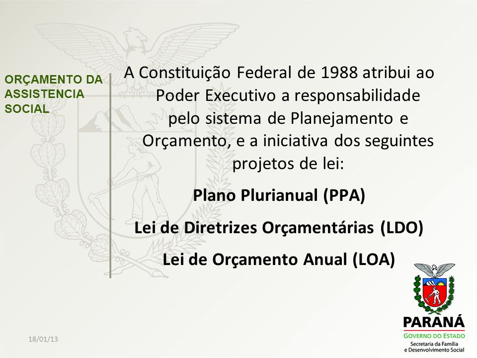 18/01/13 ORÇAMENTO DA ASSISTENCIA SOCIAL O PPA é a lei que define as prioridades do Governo pelo período de 04 (quatro) anos.