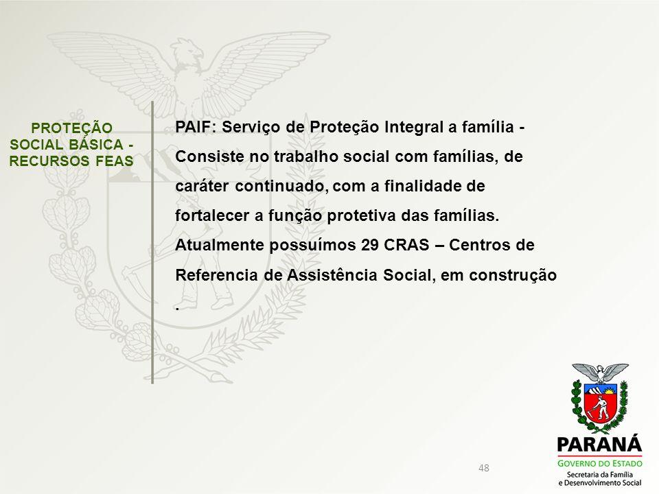 48 PROTEÇÃO SOCIAL BÁSICA - RECURSOS FEAS PAIF: Serviço de Proteção Integral a família - Consiste no trabalho social com famílias, de caráter continua