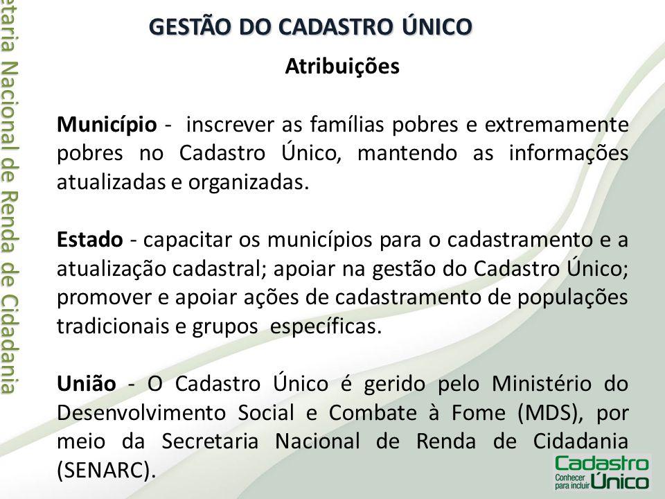 Secretaria Nacional de Renda de Cidadania Secretaria Nacional de Renda de Cidadania GESTÃO DO CADASTRO ÚNICO Atribuições Município - inscrever as famí