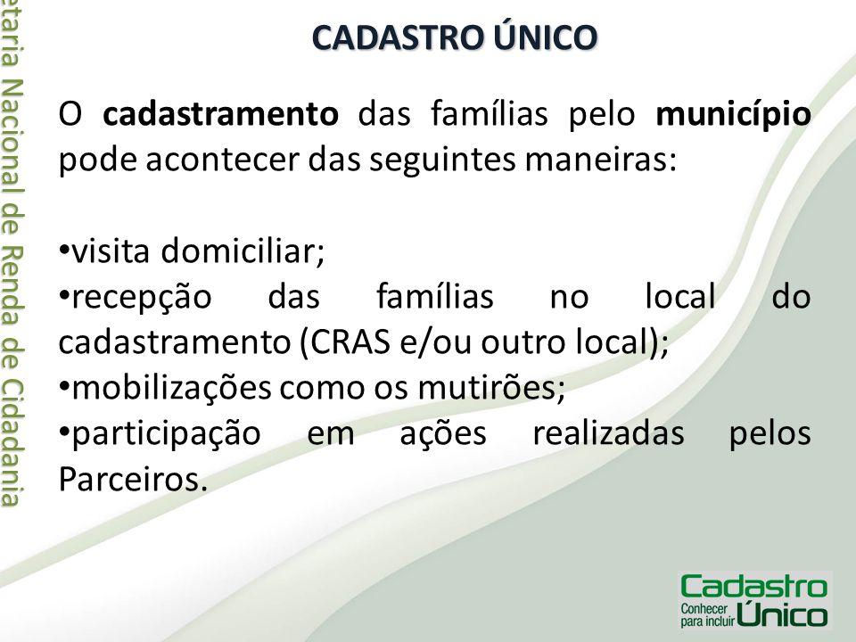 Secretaria Nacional de Renda de Cidadania Secretaria Nacional de Renda de Cidadania CADASTRO ÚNICO O cadastramento das famílias pelo município pode ac