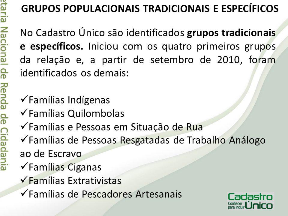 Secretaria Nacional de Renda de Cidadania Secretaria Nacional de Renda de Cidadania GRUPOS POPULACIONAIS TRADICIONAIS E ESPECÍFICOS No Cadastro Único