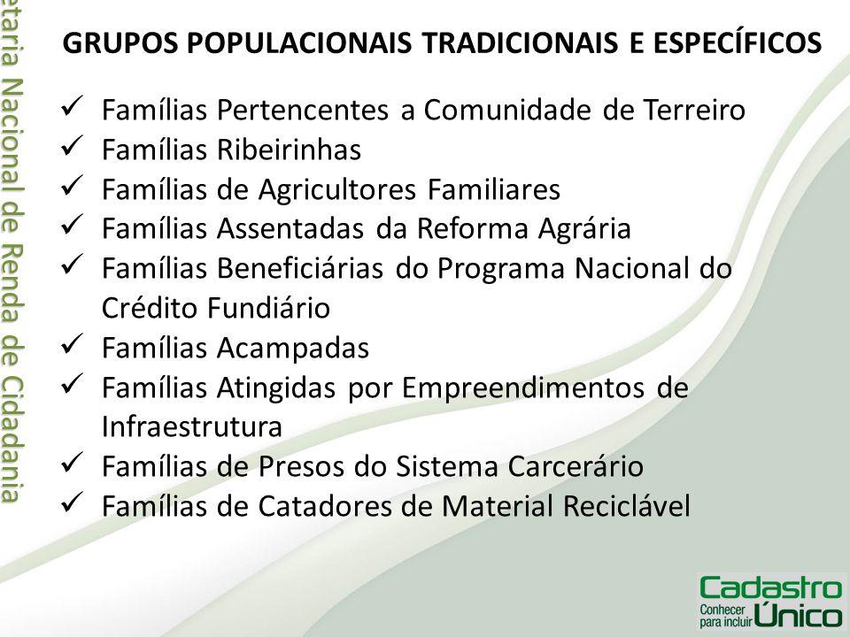 Secretaria Nacional de Renda de Cidadania Secretaria Nacional de Renda de Cidadania GRUPOS POPULACIONAIS TRADICIONAIS E ESPECÍFICOS Famílias Pertencen