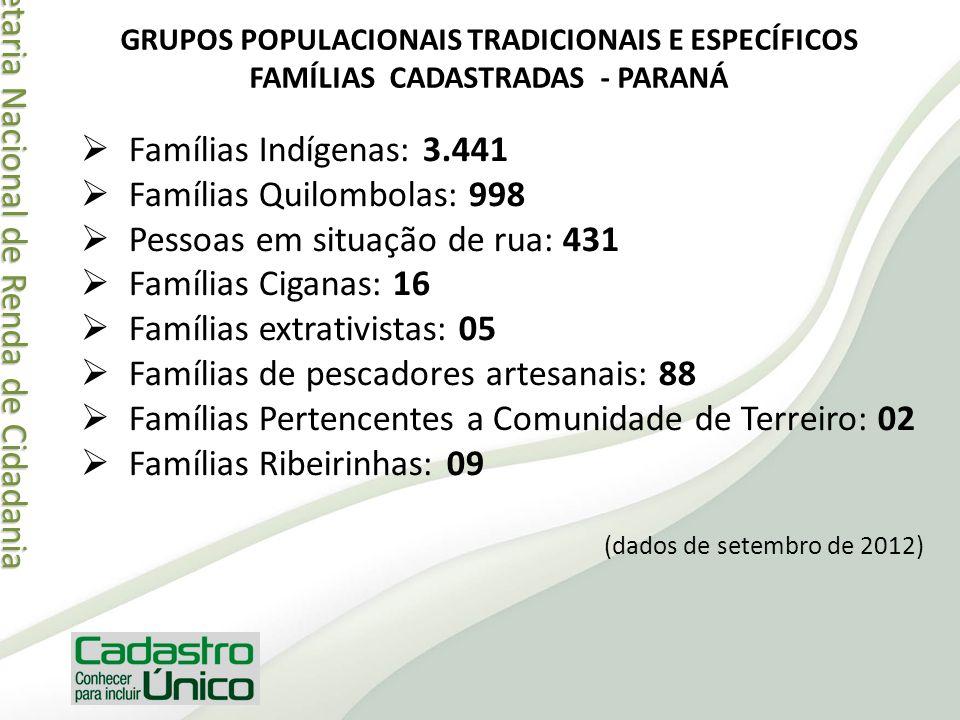 Secretaria Nacional de Renda de Cidadania Secretaria Nacional de Renda de Cidadania Famílias Indígenas: 3.441 Famílias Quilombolas: 998 Pessoas em sit