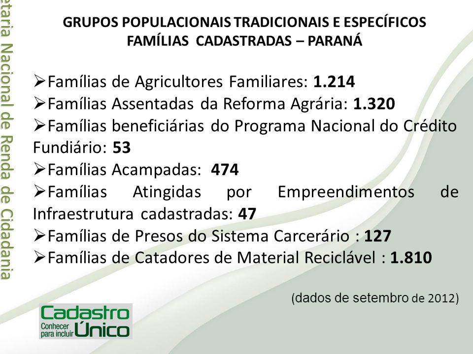 Secretaria Nacional de Renda de Cidadania Secretaria Nacional de Renda de Cidadania Famílias de Agricultores Familiares: 1.214 Famílias Assentadas da
