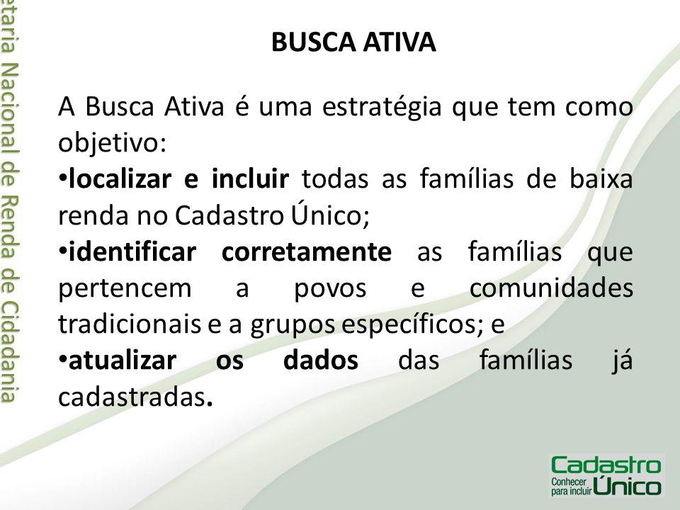 Secretaria Nacional de Renda de Cidadania Secretaria Nacional de Renda de Cidadania BUSCA ATIVA A Busca Ativa é uma estratégia que tem como objetivo: