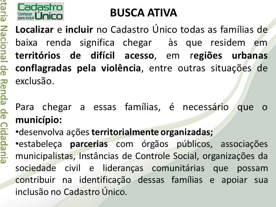 Secretaria Nacional de Renda de Cidadania Secretaria Nacional de Renda de Cidadania BUSCA ATIVA Localizar e incluir no Cadastro Único todas as família