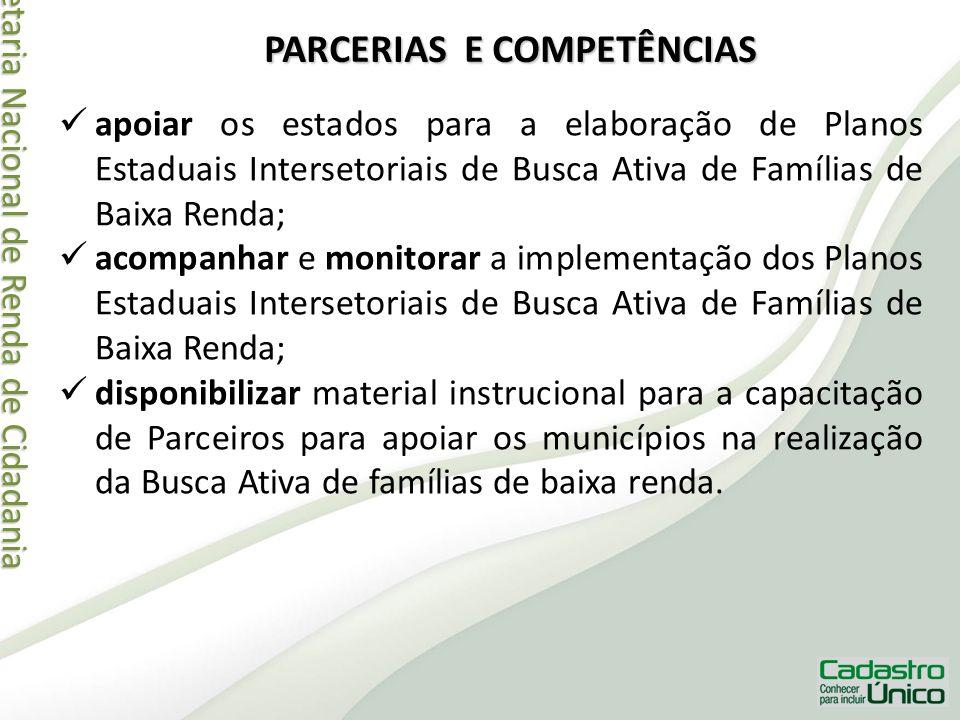 Secretaria Nacional de Renda de Cidadania Secretaria Nacional de Renda de Cidadania PARCERIAS E COMPETÊNCIAS apoiar os estados para a elaboração de Pl