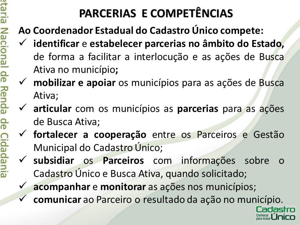 Secretaria Nacional de Renda de Cidadania Secretaria Nacional de Renda de Cidadania PARCERIAS E COMPETÊNCIAS Ao Coordenador Estadual do Cadastro Único