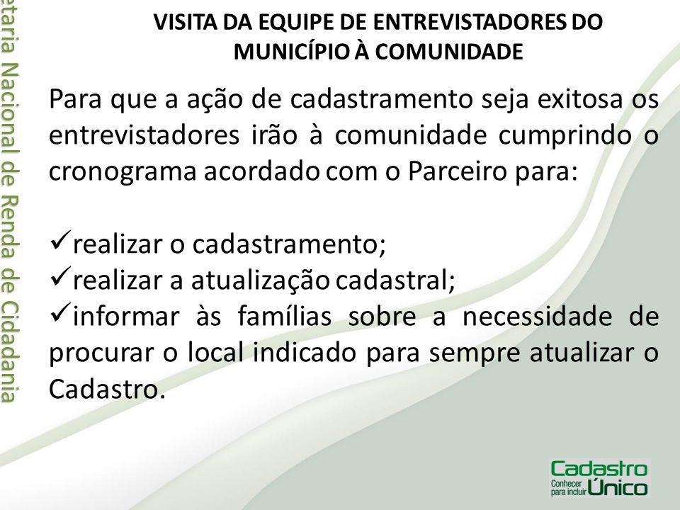 Secretaria Nacional de Renda de Cidadania Secretaria Nacional de Renda de Cidadania VISITA DA EQUIPE DE ENTREVISTADORES DO MUNICÍPIO À COMUNIDADE Para