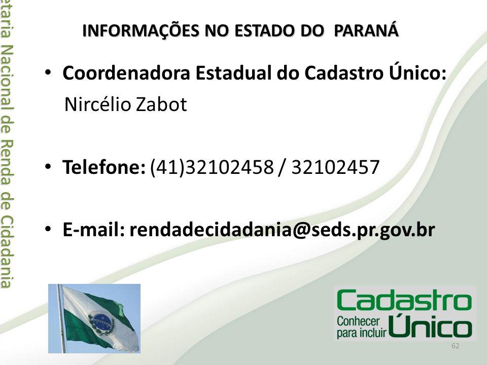 Secretaria Nacional de Renda de Cidadania Secretaria Nacional de Renda de Cidadania Coordenadora Estadual do Cadastro Único: Nircélio Zabot Telefone: