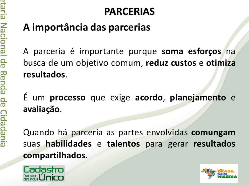 Secretaria Nacional de Renda de Cidadania Secretaria Nacional de Renda de Cidadania PARCERIAS A importância das parcerias A parceria é importante porq