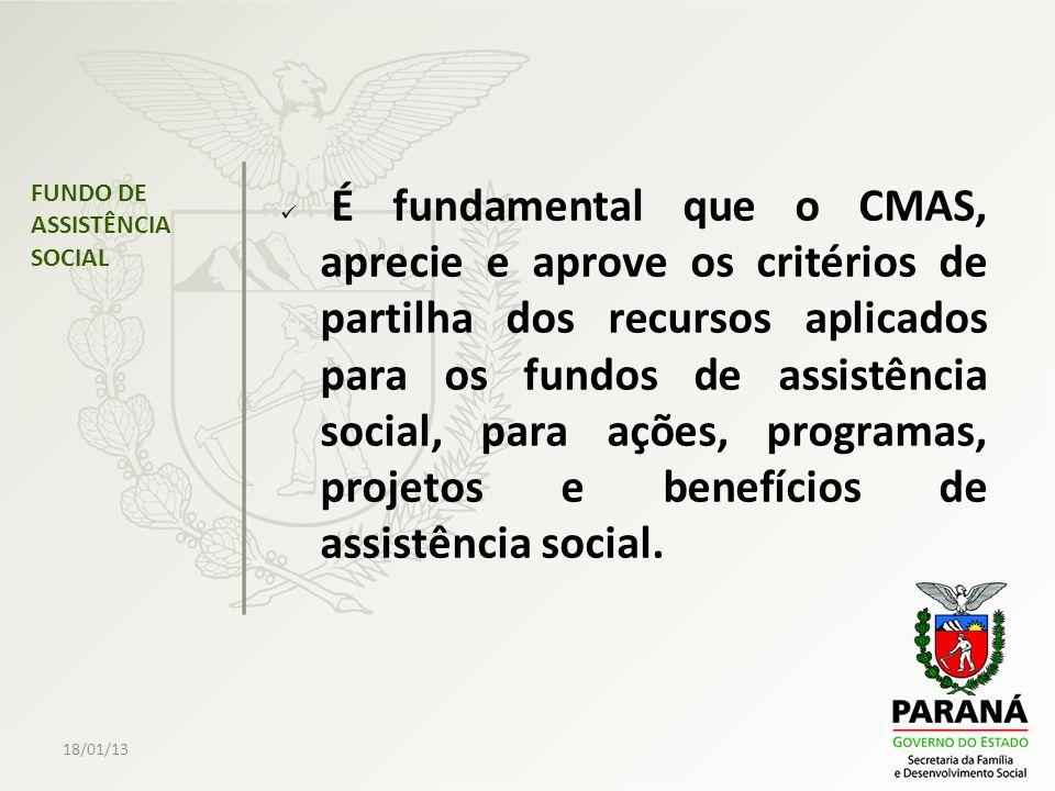 18/01/13 FUNDO DE ASSISTÊNCIA SOCIAL É fundamental que o CMAS, aprecie e aprove os critérios de partilha dos recursos aplicados para os fundos de assi