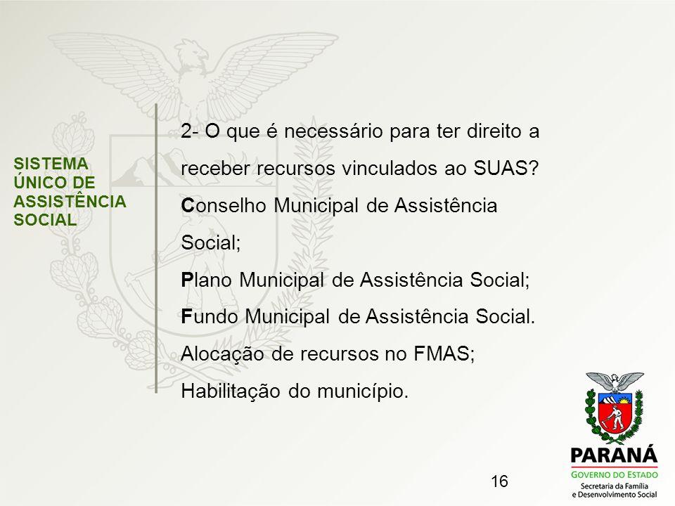 16 SISTEMA ÚNICO DE ASSISTÊNCIA SOCIAL 2- O que é necessário para ter direito a receber recursos vinculados ao SUAS? Conselho Municipal de Assistência