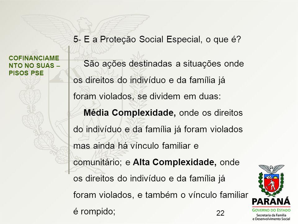 22 COFINANCIAME NTO NO SUAS – PISOS PSE 5- E a Proteção Social Especial, o que é? São ações destinadas a situações onde os direitos do indivíduo e da
