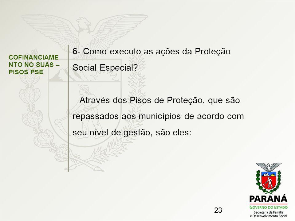 23 COFINANCIAME NTO NO SUAS – PISOS PSE 6- Como executo as ações da Proteção Social Especial? Através dos Pisos de Proteção, que são repassados aos mu