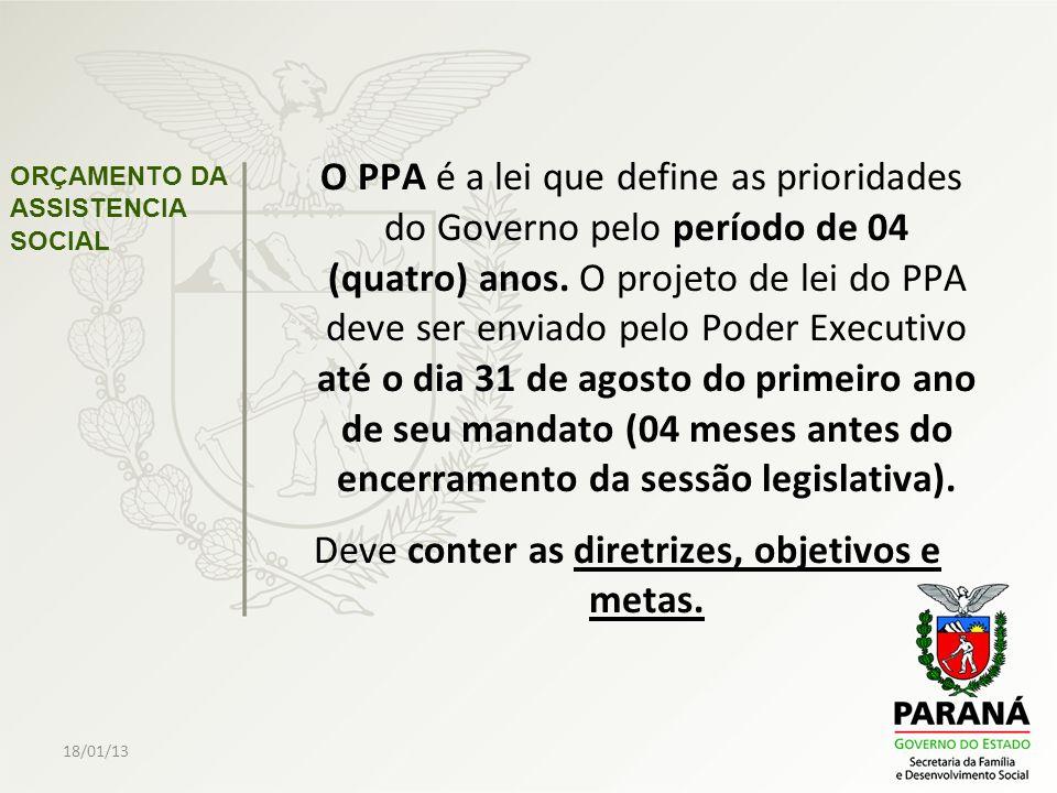 18/01/13 ORÇAMENTO DA ASSISTENCIA SOCIAL O PPA é a lei que define as prioridades do Governo pelo período de 04 (quatro) anos. O projeto de lei do PPA