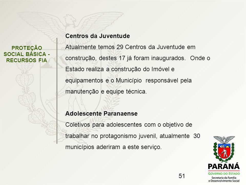 51 PROTEÇÃO SOCIAL BÁSICA - RECURSOS FIA Centros da Juventude Atualmente temos 29 Centros da Juventude em construção, destes 17 já foram inaugurados.