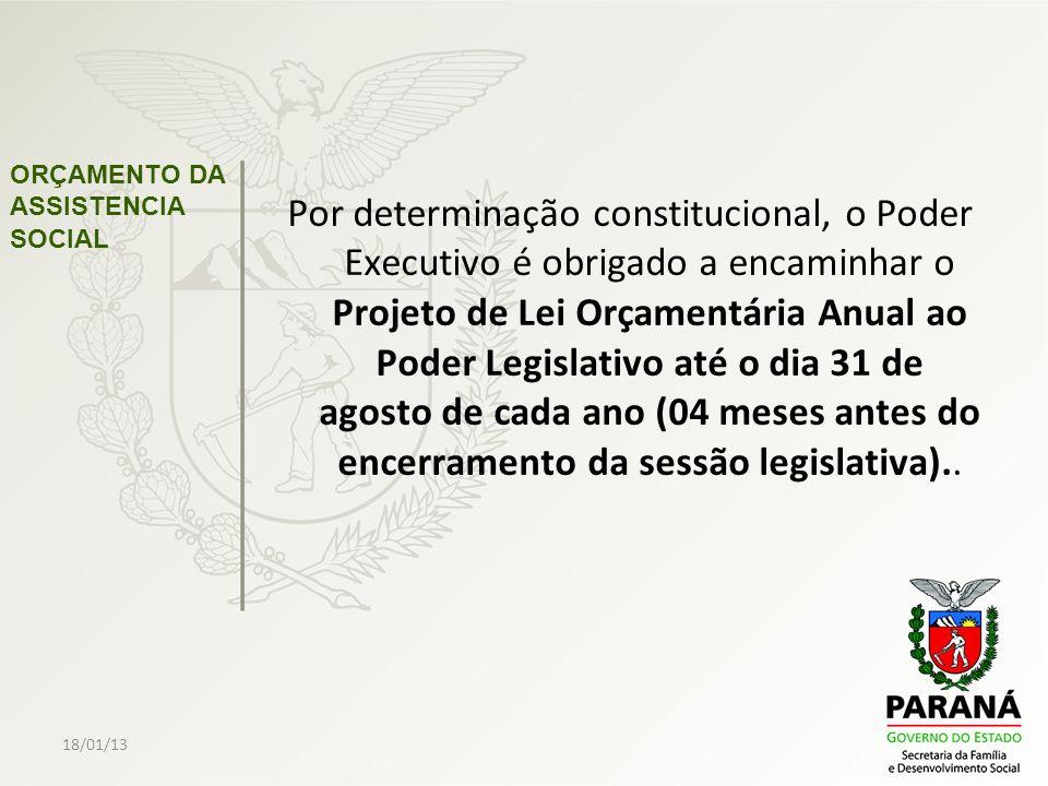 18/01/13 ORÇAMENTO DA ASSISTENCIA SOCIAL Por determinação constitucional, o Poder Executivo é obrigado a encaminhar o Projeto de Lei Orçamentária Anua