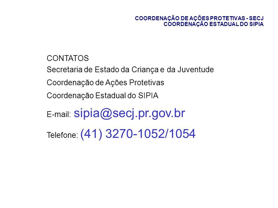 COORDENAÇÃO DE AÇÕES PROTETIVAS - SECJ COORDENAÇÃO ESTADUAL DO SIPIA CONTATOS Secretaria de Estado da Criança e da Juventude Coordenação de Ações Prot