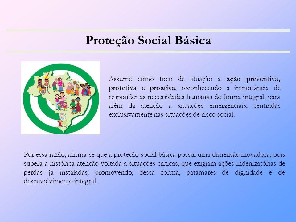 Proteção Social Básica Assume como foco de atuação a ação preventiva, protetiva e proativa, reconhecendo a importância de responder as necessidades humanas de forma integral, para além da atenção a situações emergenciais, centradas exclusivamente nas situações de risco social.