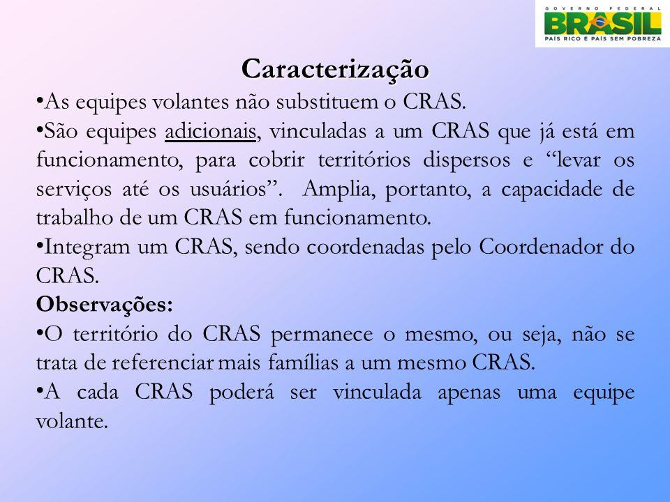 Caracterização As equipes volantes não substituem o CRAS.