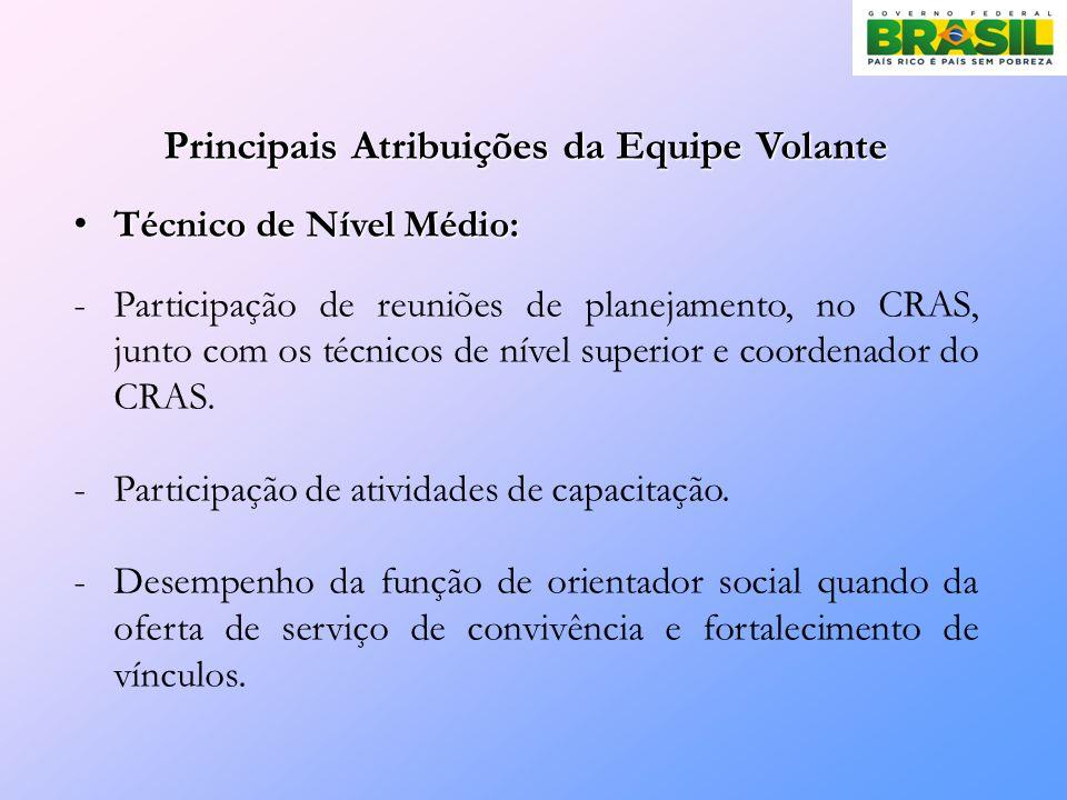 Principais Atribuições da Equipe Volante Técnico de Nível Médio: Técnico de Nível Médio: -Participação de reuniões de planejamento, no CRAS, junto com os técnicos de nível superior e coordenador do CRAS.