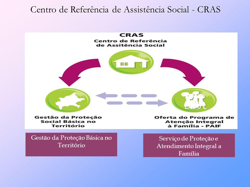 Centro de Referência de Assistência Social - CRAS Serviço de Proteção e Atendimento Integral a Família Gestão da Proteção Básica no Território